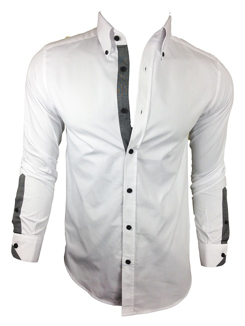 Mens casual formal stylish fitted john tungatt designer for Mens formal white shirts