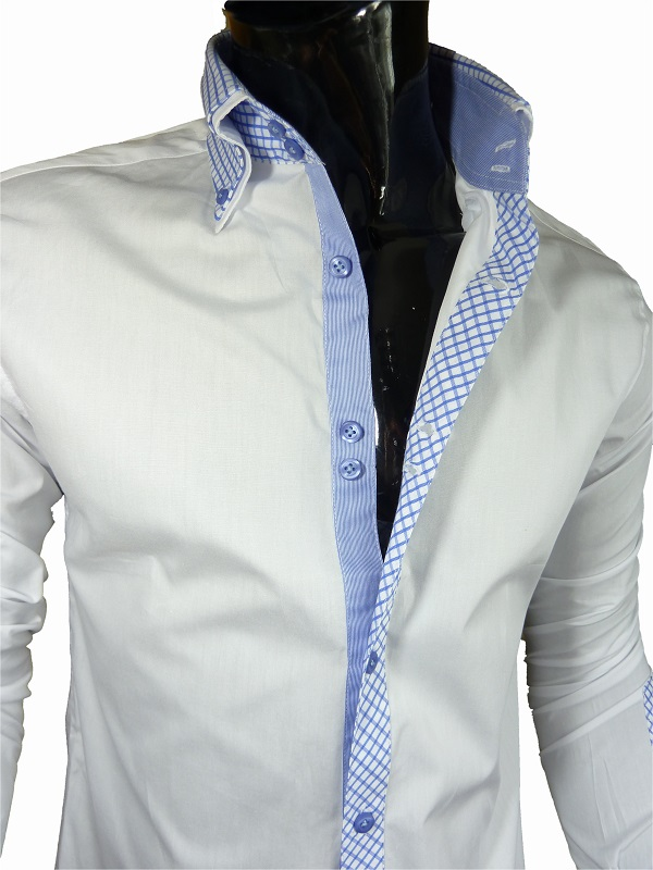 Mens formal fitted john tungatt designer white blue for Mens formal white shirts